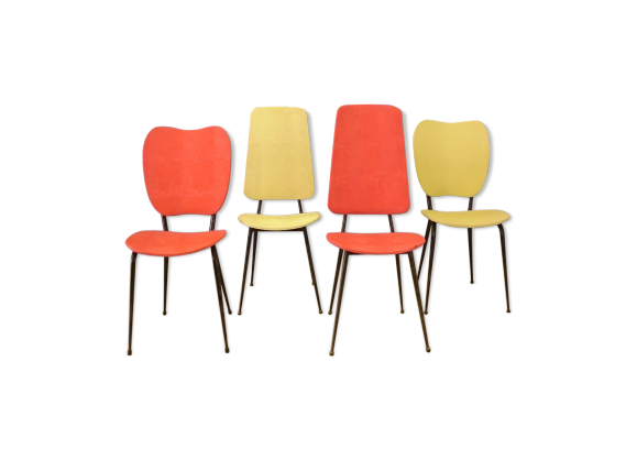 lot de 4 chaises jacques hitier 1950 m tal rouge bon tat vintage. Black Bedroom Furniture Sets. Home Design Ideas