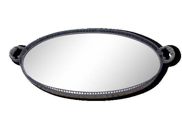 Plateau ovale verre laiton et bois