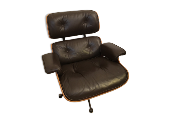 fauteuil lounge chair 670 c r eames cuir marron bon tat design. Black Bedroom Furniture Sets. Home Design Ideas