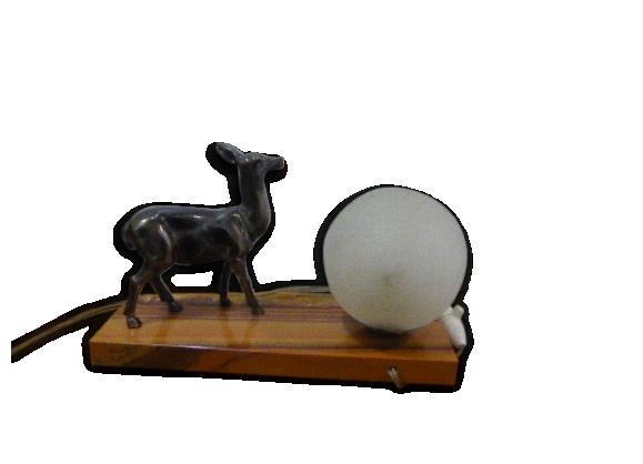 lampe biche sur un magnifique socle en marbre beige globe boule en verre d poli blanc vintage. Black Bedroom Furniture Sets. Home Design Ideas