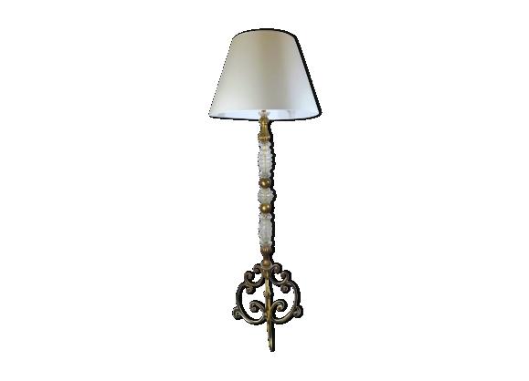 Lampadaire baroque Murano et bois doré