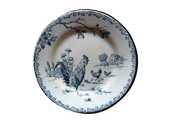 Assiette plate en porcelaine opaque de Gien