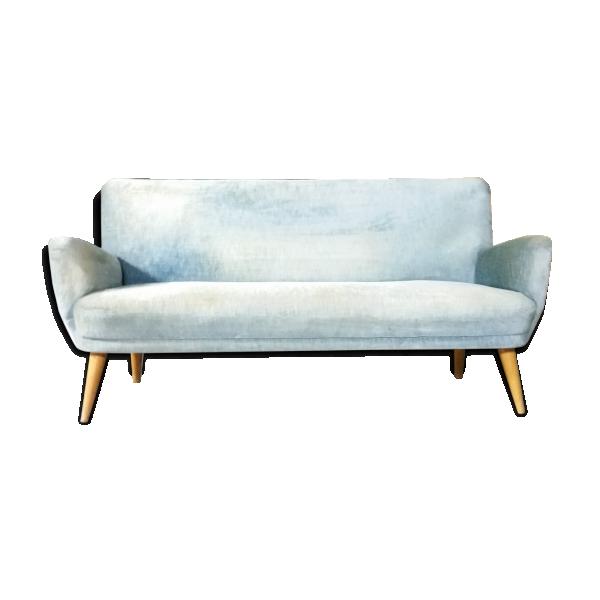 Canap sofa ann e 50 60 tissu bleu dans son jus for Canape annee 50