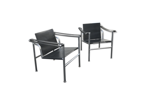 fauteuil lc1 charlotte perriand le corbusier jeanneret 1970 cuir noir dans son jus. Black Bedroom Furniture Sets. Home Design Ideas