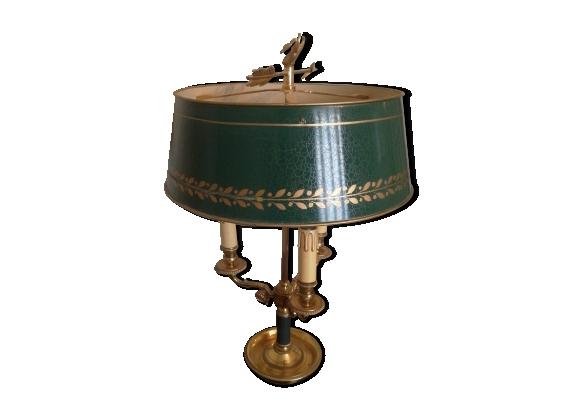 Lampe de bureau en bronze doré et patine verte