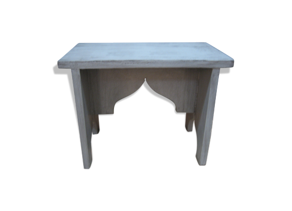 repose pieds gris patin bois mat riau gris bon tat classique. Black Bedroom Furniture Sets. Home Design Ideas