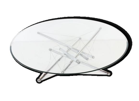 Table basse en métal chromé et verre par Théodore Waddell, modèle Tensegrity pour Cassina, années 70