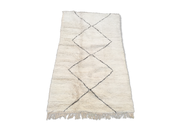 tapis berb re beni ouarain 2 50x1 60 m pur laine tissu blanc bon tat thnique. Black Bedroom Furniture Sets. Home Design Ideas