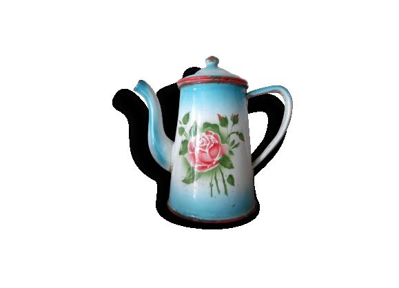Cafetière ancienne émaillée ,motif rose