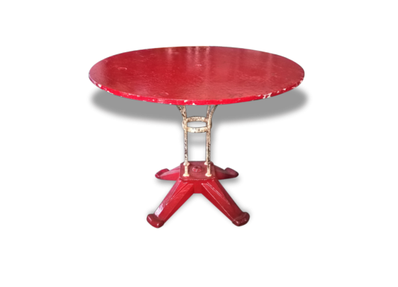 table de bistrot fer forg rouge fer rouge bon tat industriel 101665. Black Bedroom Furniture Sets. Home Design Ideas