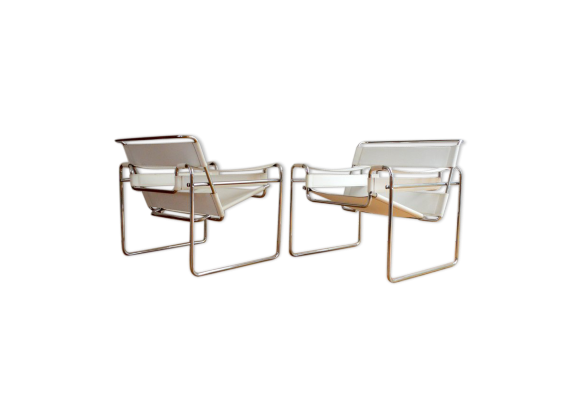 paire de fauteuils wassily marcel breuer 1980 m tal blanc bon tat vintage. Black Bedroom Furniture Sets. Home Design Ideas