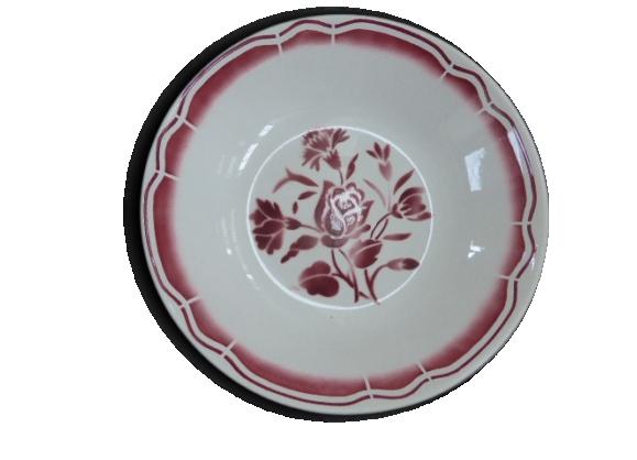 3 petites assiettes creuses anciennes, motifs a fleurs rouge, bordeaux, art déco