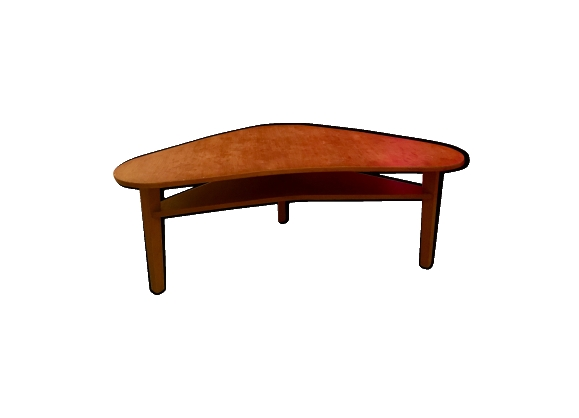 Table basse en bois de forme boomerang style scandinave