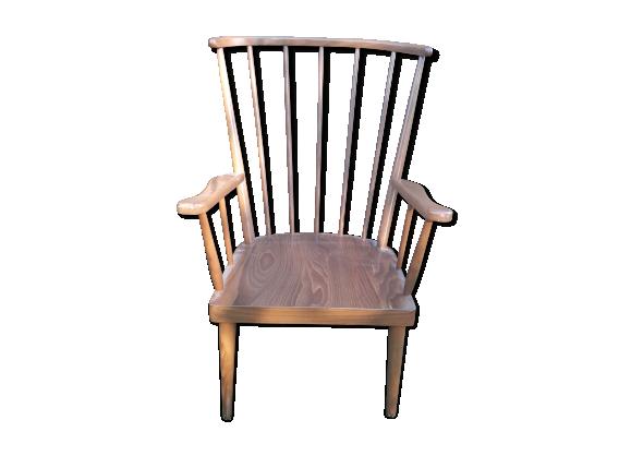 fauteuil baumann dossier ventail bois mat riau bois couleur bon tat vintage. Black Bedroom Furniture Sets. Home Design Ideas