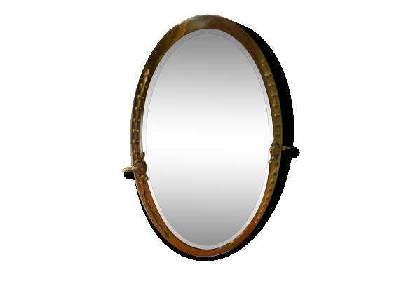 Miroir en laiton ovale le fait main for Miroir laiton