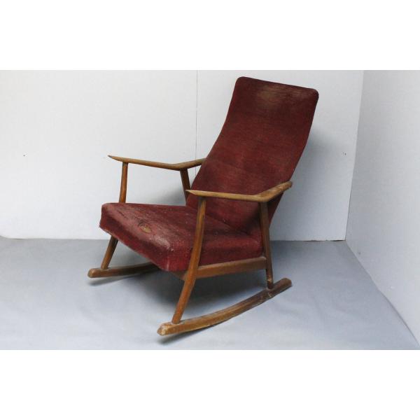 fauteuil rocking chair scandinave ann es 50 bois mat riau bois couleur dans son jus. Black Bedroom Furniture Sets. Home Design Ideas