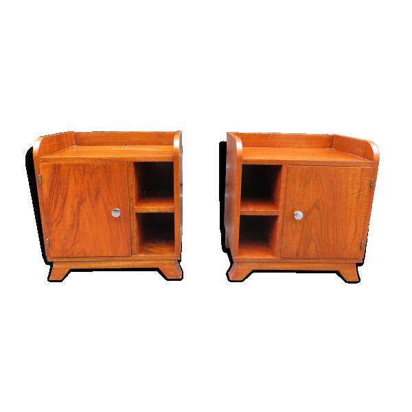 paire de tables de chevet art d co ann es 30 bois mat riau bois couleur bon tat art. Black Bedroom Furniture Sets. Home Design Ideas
