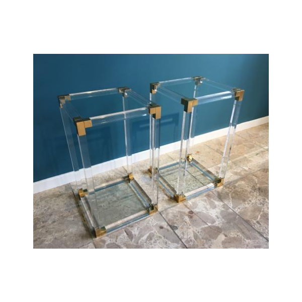 mid century side tables in lucite acrylic and brass 1970s set of 2 verre et cristal. Black Bedroom Furniture Sets. Home Design Ideas