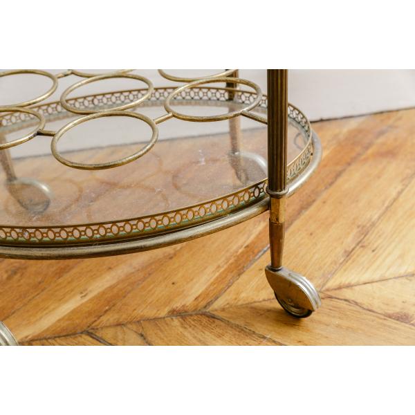 bar desserte roulettes ancienne m tal dor et verre m tal dans son jus vintage 164384. Black Bedroom Furniture Sets. Home Design Ideas