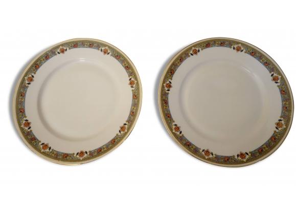6 assiettes creuses blanches motif coloré en porcelaine de Limoges