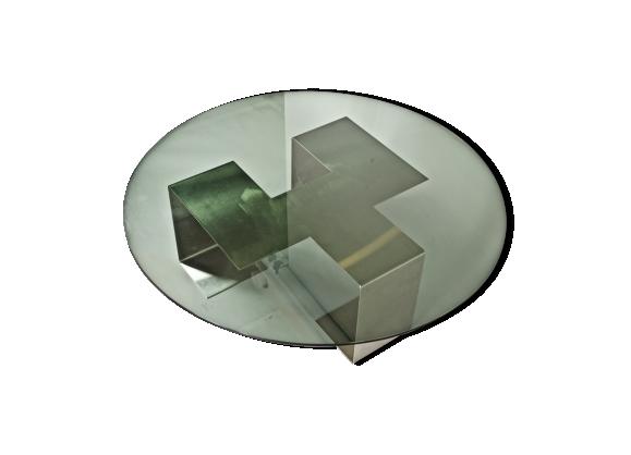 Table Colima de Jean-Pierre Mesmin en acier brossé et verre 1970