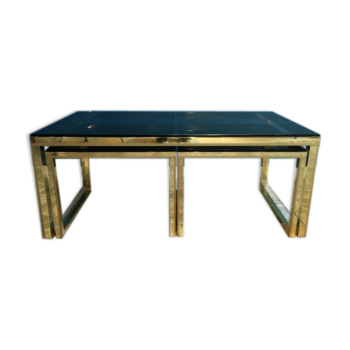 Brass & smoked glass nesting tables