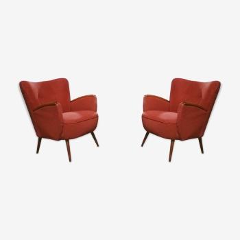 Paire de petits fauteuils club cocktails années 50 60 rouge