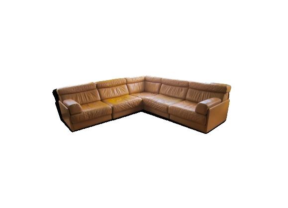 Canapé modulable cognac De Sede 77 en cuir