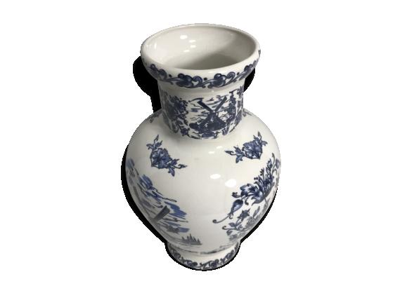 Ancien vase porcelaine molen bleu & blanc décoration vintage