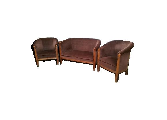 salon art deco 2 fauteuils 39 tonneau 39 et canap le fait main. Black Bedroom Furniture Sets. Home Design Ideas
