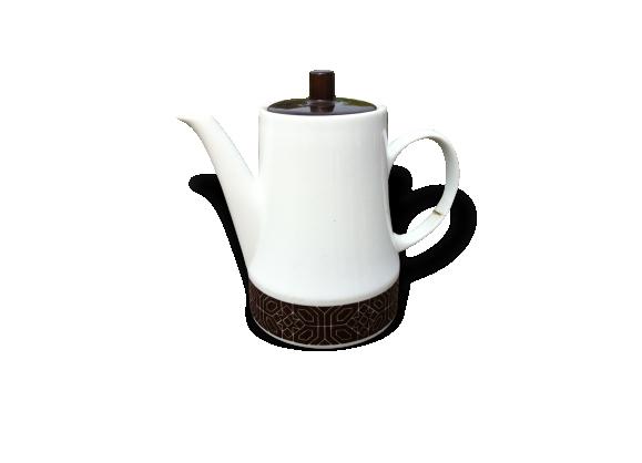 Cafetière vintage blanche et marron