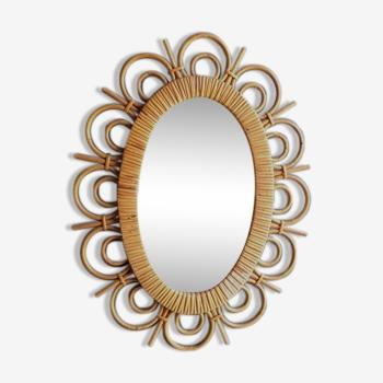 """Miroir soleil en rotin """"narcisse"""""""