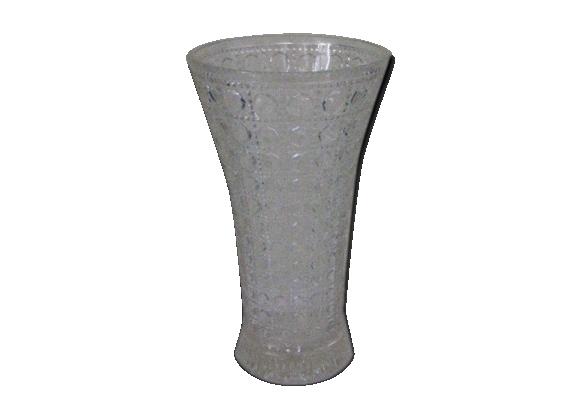 Vase en verre moulé à motifs géométriques design et vintage des années 60