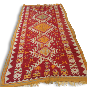 tapis boucherouite fait main au maroc tissu multicolore bon tat thnique. Black Bedroom Furniture Sets. Home Design Ideas