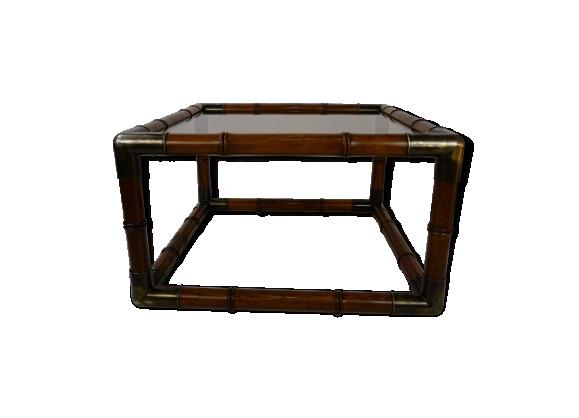 Table basse en bois et verre des années 70