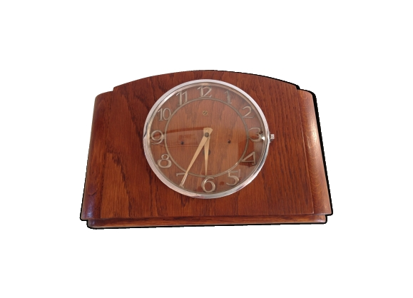 Horloge murale en bois vintage années 50-60