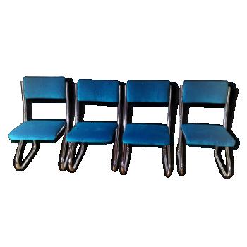 Chaises chromées assise et dossier velours turquoise