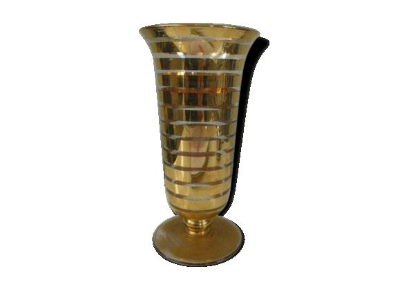 vase en verre vas art deco avec des bandes g om triques dor s art deco verre et cristal. Black Bedroom Furniture Sets. Home Design Ideas