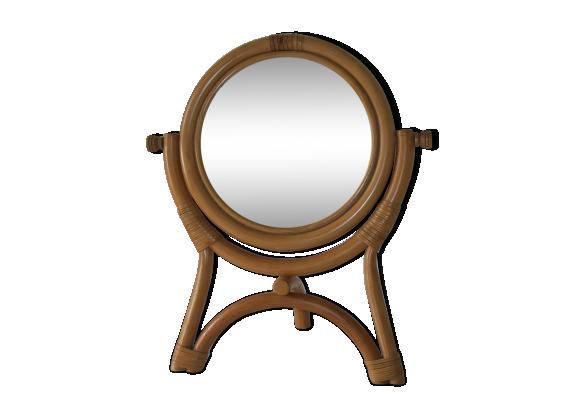 miroir a poser en rotin rotin et osier dor bon tat vintage. Black Bedroom Furniture Sets. Home Design Ideas