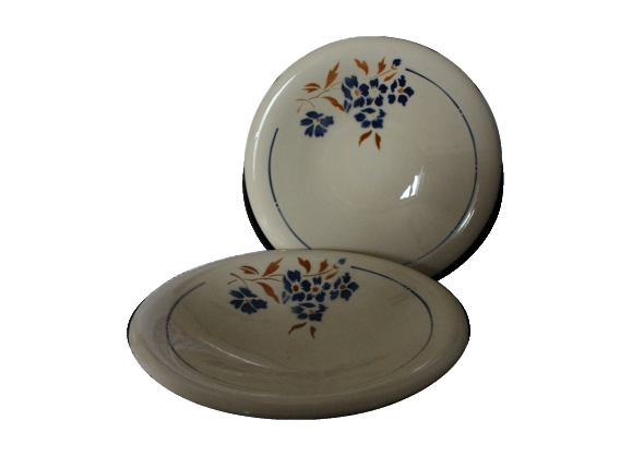 2 plats creux motif fleuri