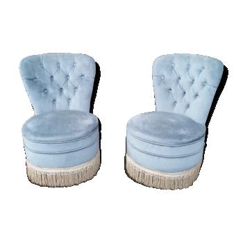 Paire de fauteuils velour vintage