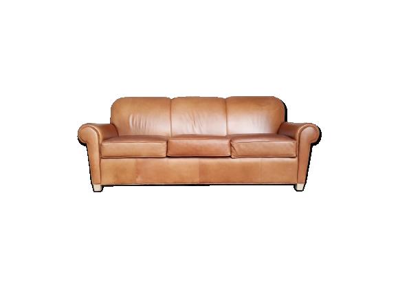 canap 3 places cuir brun caramel cuir marron bon tat industriel. Black Bedroom Furniture Sets. Home Design Ideas