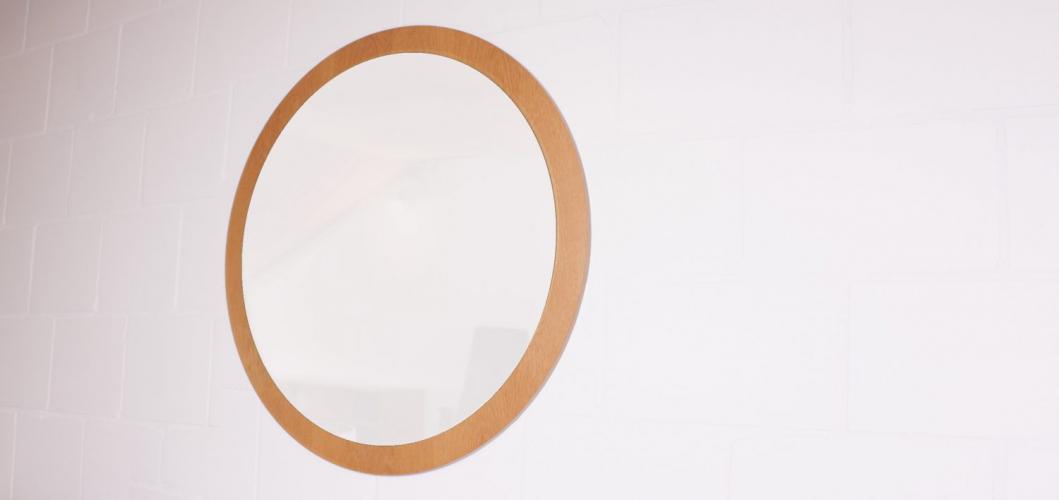 grand miroir rond kama bois mat riau marron bon. Black Bedroom Furniture Sets. Home Design Ideas