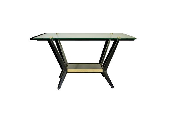 Table basse Angelo Ostuni en verre, laiton et acier laqué noir, Italie circa 1950