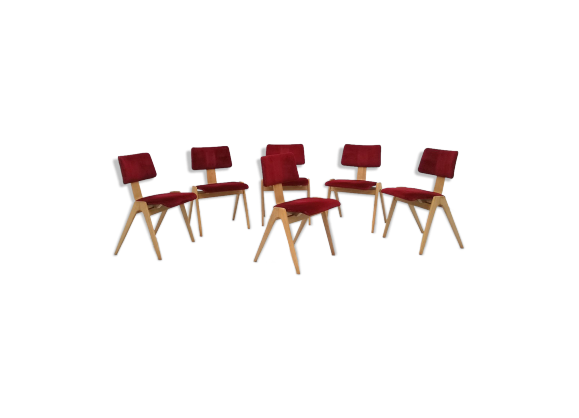 suite de six chaises robin day pour hille circa 1950 bois mat riau rouge bon tat. Black Bedroom Furniture Sets. Home Design Ideas