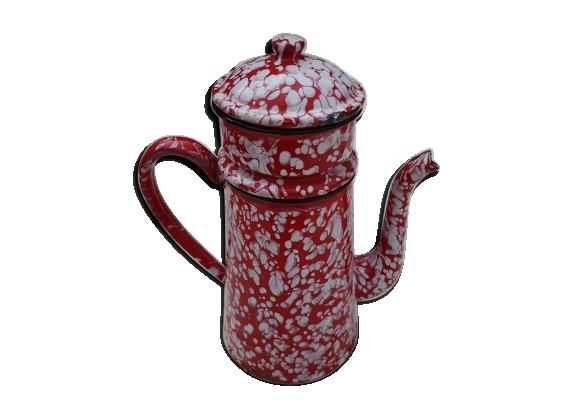 Cafetière émaillée rouge complète hauteur 27 cm