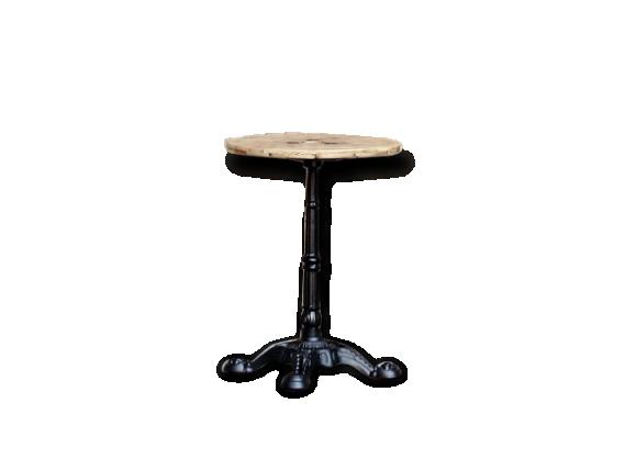 Table ronde bistrot en bois et pieds en fonte noir bois - Table bistrot marbre ronde pied fonte ...