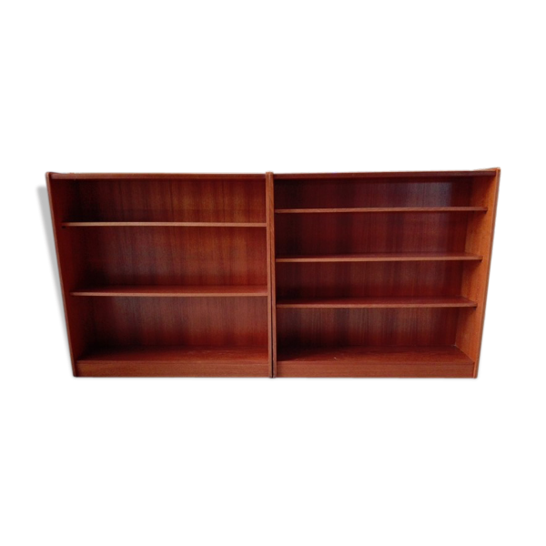 Biblioth que basse vintage style scandinave bon tat bois mat riau bois - Bibliotheque basse bois ...
