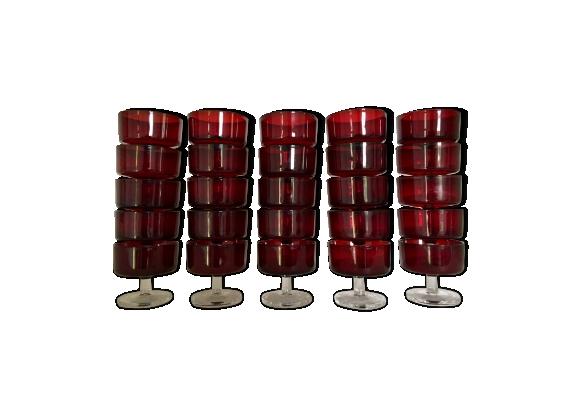 Lot de 25 verres à pied rouge
