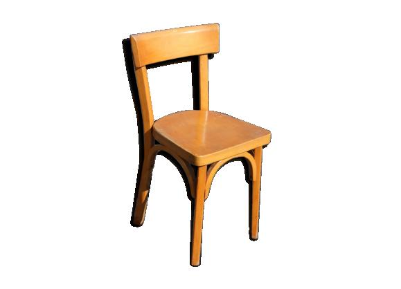 chaise enfant baumann bois mat riau marron bon tat vintage. Black Bedroom Furniture Sets. Home Design Ideas